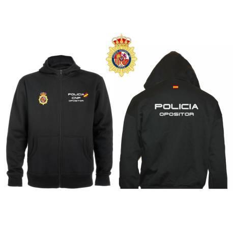 SUDADERA CAPUCHA Y CREMALLERA OPOSITOR POLICIA NACIONAL