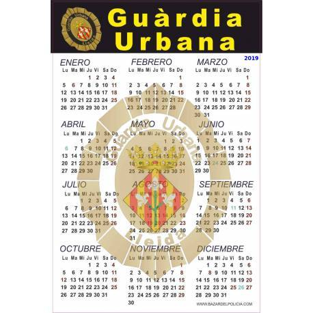 CALENDARIO ADHESIVO 2019 GUARDIA URBANA LLEIDA