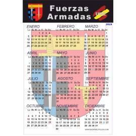 CALENDARIO ADHESIVO 2019 FUERZAS ARMADAS