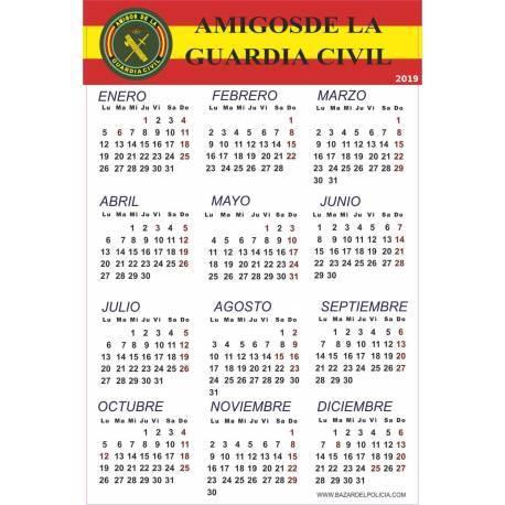 CALENDARIO ADHESIVO 2019 AMIGOS GUARDIA CIVIL